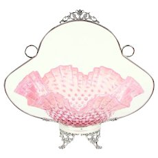 Victorian Antique Bride Basket, Signed Silverplate & Cranberry Glass #28886