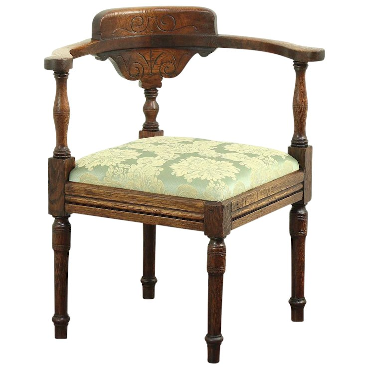 Oak Carved Antique 1885 Corner Chair, New Upholstery #28901 - Oak Carved Antique 1885 Corner Chair, New Upholstery #28901 : Harp