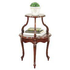 Rosewood Carved Vintage Two Tier Chairside or End Table #28905