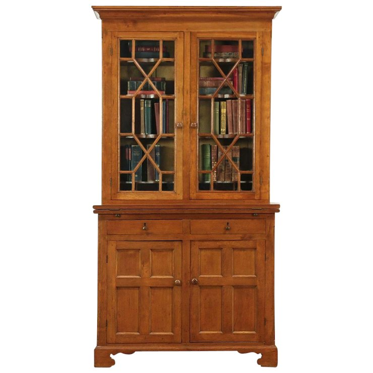Cherry Antique Secretary Desk & Bookcase, Wavy Glass Doors, France #28910 - Cherry Antique Secretary Desk & Bookcase, Wavy Glass Doors, France
