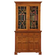 Cherry Antique Secretary Desk & Bookcase, Wavy Glass Doors, France #28910