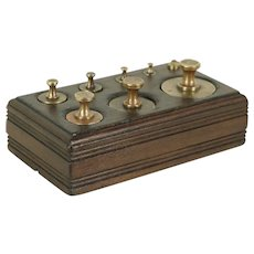 Brass Antique Scale Weight Set, Walnut Box #28913
