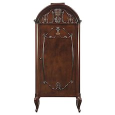 Mahogany Antique Chifferobe, Armoire, Bath or Linen Cabinet, Germany #28916