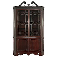 Georgian 1820 Antique Mahogany Corner China Cabinet or Cupboard, England  #28928