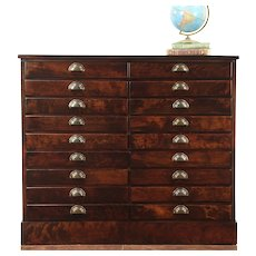 Map, Music or Drawing File Cabinet, 18 Drawer Antique Collector Chest, #28929