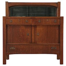 Arts & Crafts Mission Oak Antique Craftsman Sideboard Server, Mirror #28930