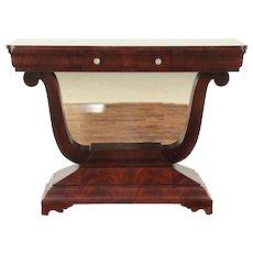 Empire Antique 1910 Mahogany Lyre Hall Console or Petticoat Table, Royal #28932