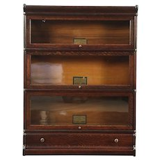 Oak 3 Stack Antique Lawyer Bookcase, Wavy Glass Doors, Globe Wernicke #28933