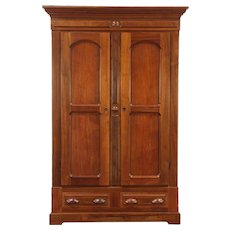 Victorian Antique 1875 Walnut Armoire, Wardrobe or Closet, Carved Pulls #28934