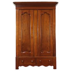 Victorian Walnut Antique 1860 Armoire, Wardrobe or Closet, Round Knobs #28936