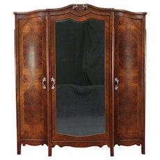 Triple Antique Armoire, Wardrobe or Closet, Beveled Mirror, Italy #28937