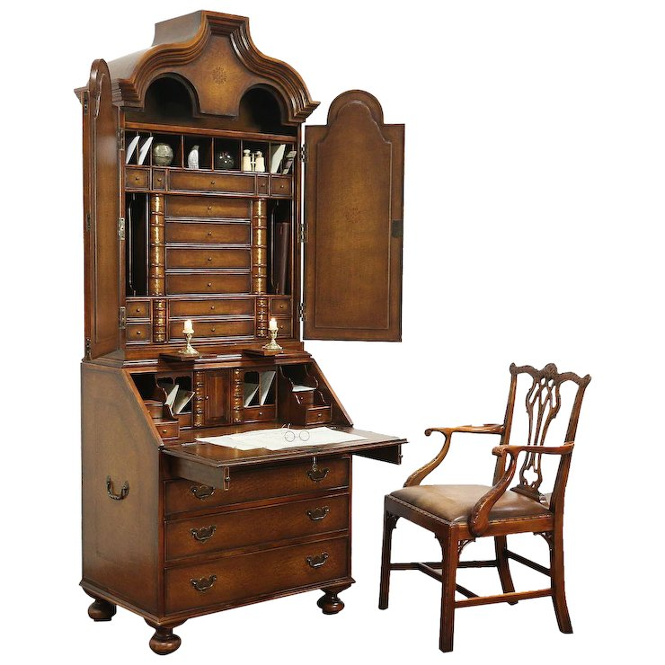 Tooled Leather Library Secretary Desk & Chair, Secret Book : Harp Gallery Antique  Furniture | Ruby Lane - Tooled Leather Library Secretary Desk & Chair, Secret Book : Harp