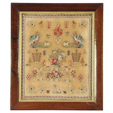 Sampler, 1830's Antique Hand Stitched Birds, Dogs & Flowers, England #28944