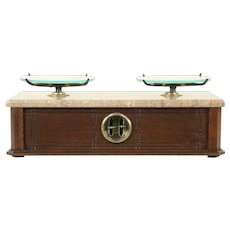 Victorian Walnut and Marble Balance Scale #28945