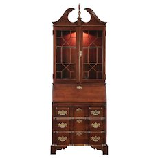 Cherry Vintage Block Front Secretary Desk, Lighted Bookcase signed Jasper #28950