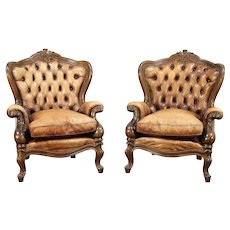 Pair of Carved Fruitwood Wing Back Chairs,Vintage, Tufted Leather, Italy #28973