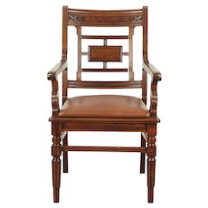 Victorian Eastlake Antique Walnut Desk or Library Chair, New Leather #28976
