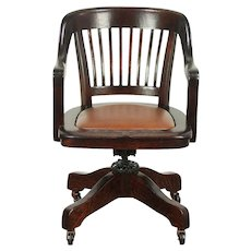 Oak Antique Adjustable Swivel Desk Chair, Signed & Pat. 1914, New Leather #28977