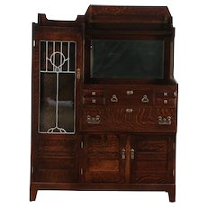 Craftsman Antique Mission Oak Arts & Crafts China Bar Cabinet & Sideboard #28978