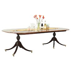 Baker Charleston Collection Signed Vintage Banded Dining Table, 2 Leaves #28982