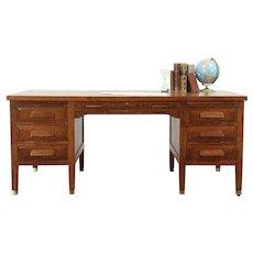 Arts & Crafts Mission Oak Antique Craftsman Library or Office Desk #28983