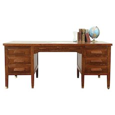 Arts & Crafts Mission Oak Antique Craftsman Library or Office Desk #28983