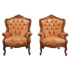 Pair of Carved Fruitwood Vintage Wing Back Chairs, Tufted Leather, Italy #28986