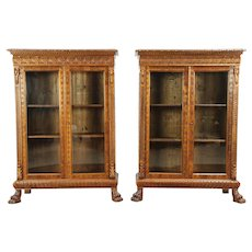 Pair Antique Pine & Beech Library Bookcases, Lion Paw Feet, Italy #28988