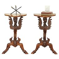 Pair Antique Wall Console Tables, Carved Griffins & Heads, Venice Italy #28991