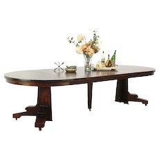"""Arts & Crafts Mission Oak 48"""" Antique Craftsman Dining Table, 6 Leaves #28999"""