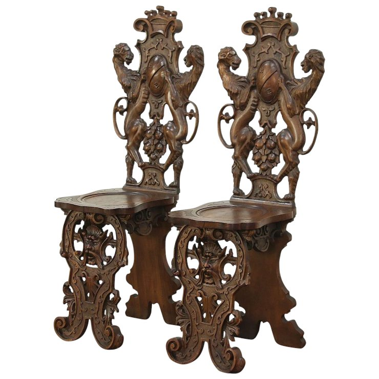 Pair Vintage Walnut Hall Chairs, Carved Lions, Faces, Crown & Crest #29000 - Pair Vintage Walnut Hall Chairs, Carved Lions, Faces, Crown & Crest