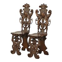 Pair Vintage Walnut Hall Chairs, Carved Lions, Faces, Crown & Crest #29000