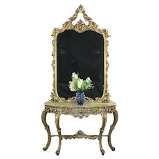 Bronze & Gold Antique Carved Hall Mirror, Marble Top Console Set, Italy  #29013