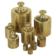 Set of 9 Antique Brass Scale Weights, 10-1000 Grams, Valencia, Spain #29014