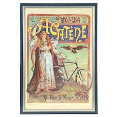 Acatene Velleda French Bicycle Framed Advertising Poster, Pub. 1896 #29016