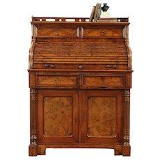 Roll Top Antique 1870 Walnut & Burl Desk, Leather Top, Austria #29018
