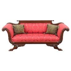 Empire Antique 1910 Sofa, New Upholstery, Carved Lion Paws, Cornucopia #29023