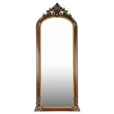 Victorian Antique 1860's Hand Carved Walnut Hall Mirror #29029