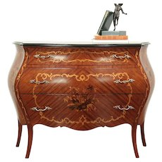 Bombe Shaped Vintage Chest or Dresser, Rosewood & Marquetry, Italy  #29031