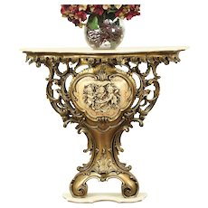 Baroque Marble Vintage Hall Console Table, Cherub Sculptures, Italy #29042