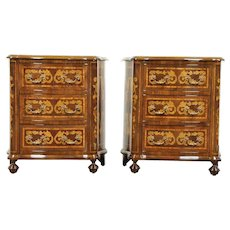 Pair of Marquetry Vintage Chests, Nightstands or End Tables, Italy #29059