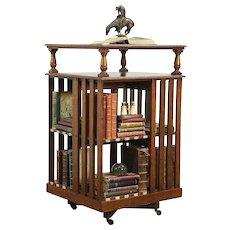 Oak Revolving Antique Spinning Bookcase with Original Labels #29070