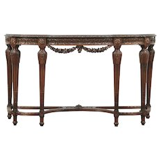 Walnut & Burl Hand Carved Antique Hall Console Table or Server #29072