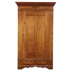 Victorian Antique Butternut Armoire, Wardrobe Or Closet #29081. Harp  Gallery Antique Furniture
