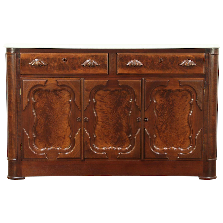 Victorian Antique Walnut Sideboard Server Or Buffet Marble Top Harp Gallery Furniture Ruby Lane