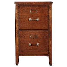 Oak 2 Drawer 1940 Vintage Desk Height File Cabinet #29087