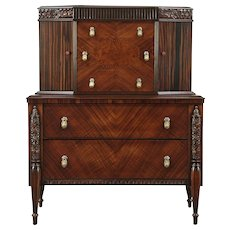 Art Deco 1925 Antique Tall Chest on Chest, Signed Hillenbrand #29088