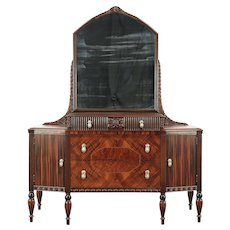 Art Deco 1925 Antique Chest or Dresser & Mirror, Unsigned Hillenbrand #29089
