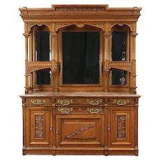 Victorian Eastlake Antique Oak Back Bar or Sideboard, Beveled Mirrors #29102