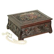 Hand Carved 1890 Antique Maple Jewelry Box, Hand Painted #29105